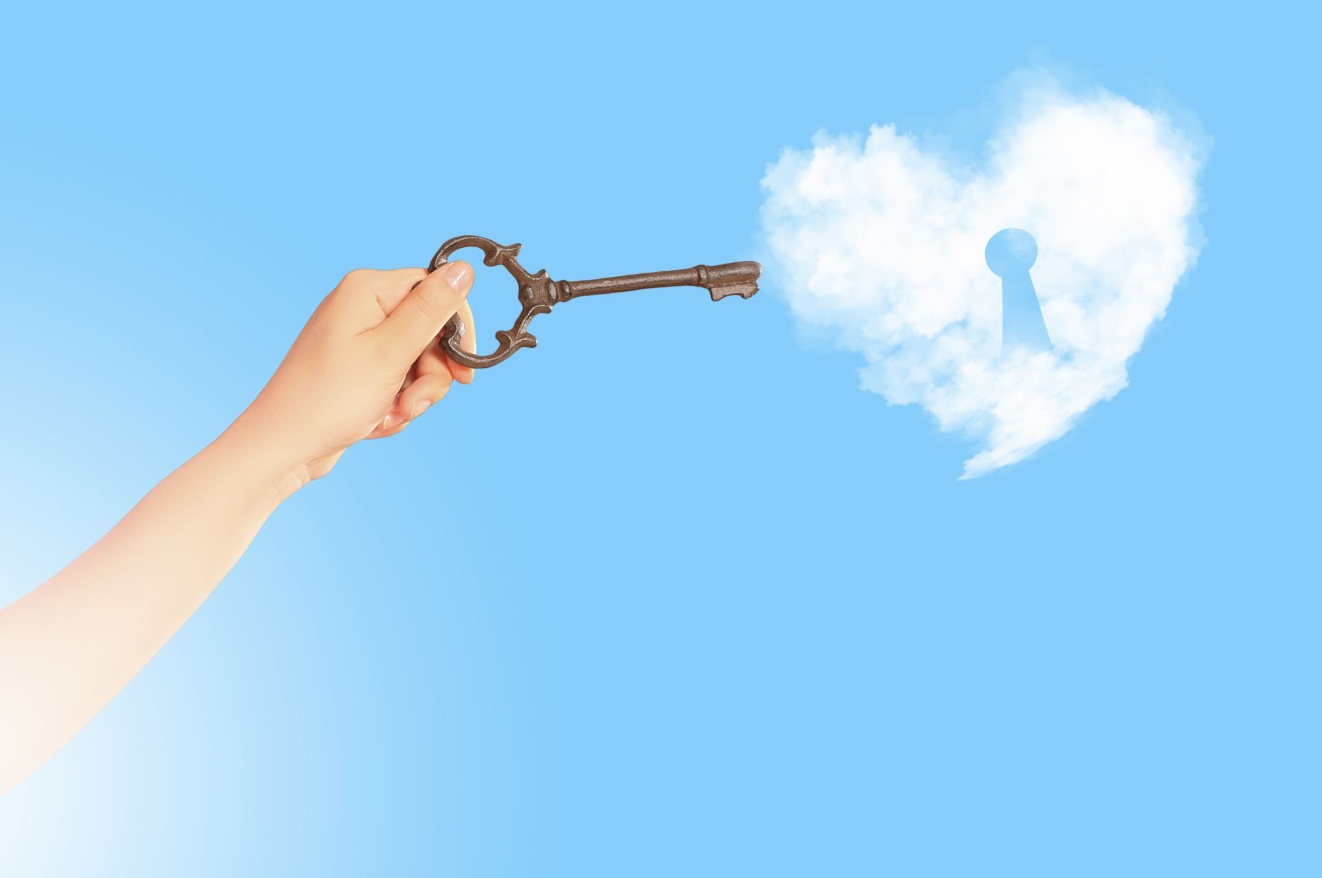 Gina Rolkowski discusses how healing from sexual trauma is often plagued by shame and grief. She shares the 5 keys of her Bridge to Breakthroughs program and how they aid in the journey of resolving childhood trauma as an adult. Image displayed shows a hand holding bronze key up to heart-shaped cloud with keyhole in a blue sky