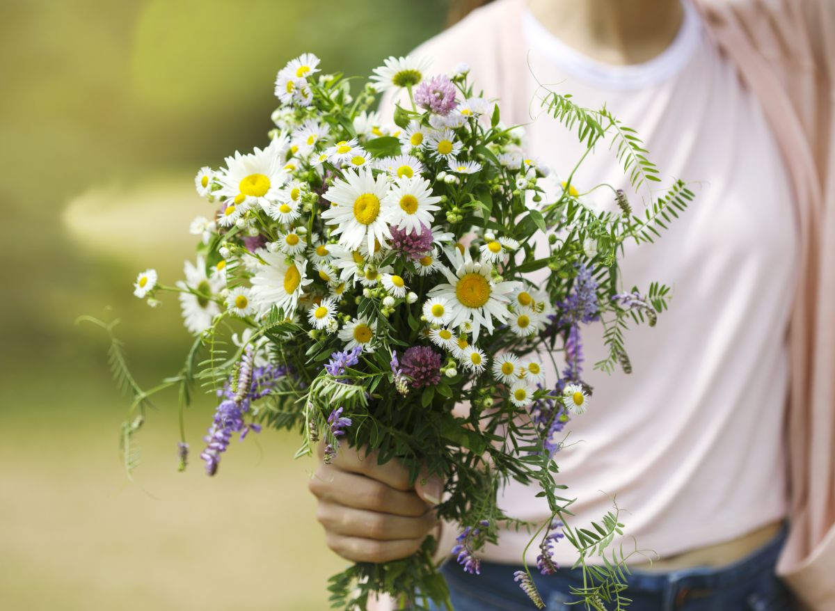 Gina Rolkowski discusses why many healing from childhood sexual abuse question if it was their fault and how to transform that shame and blame. Image on page is a close-up of wildflower bouquet held by someone standing outdoors in a white t-shirt.