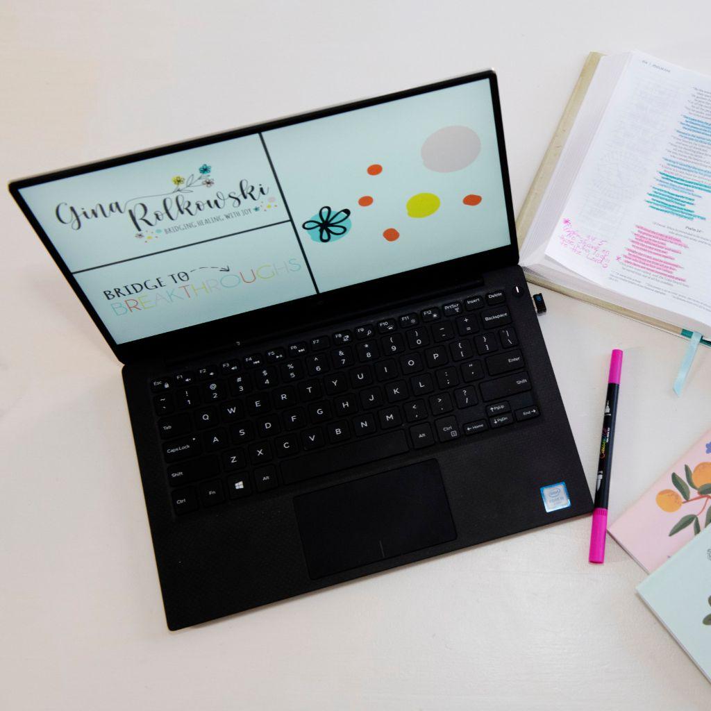 Trauma and Recovery Coach Gina Rolkowski's branding mockup on laptop