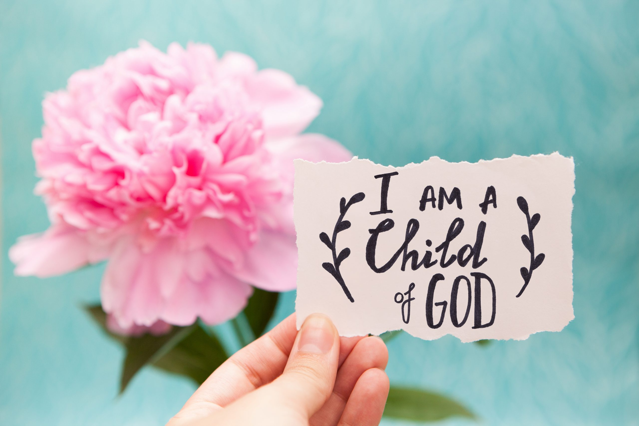 """Gina Rolkowski shares her personal story of how building a personal realtionship with God and fostering self-compassion helped her healing shame from childhood abuse. The image displayed shows a bright pink flower in full bloom with a woman's hand holding a note that reads, 'I am a child of God."""""""